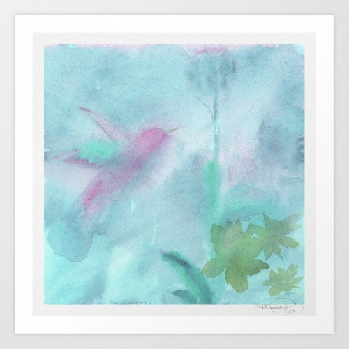 Hummingbird Selah Aqua Print